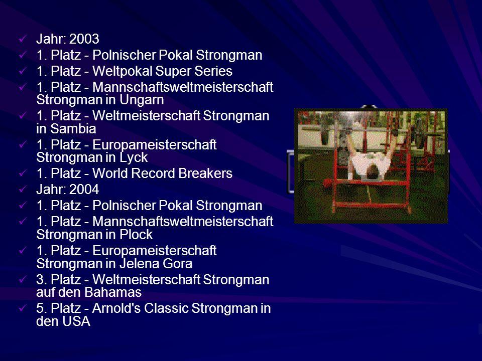 Erfolge Jahr: 1999 1.Platz - Polnischer Pokal Warka Strongman 3.
