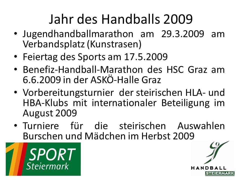 Jugendhandballmarathon am 29.3.2009 am Verbandsplatz (Kunstrasen) Feiertag des Sports am 17.5.2009 Benefiz-Handball-Marathon des HSC Graz am 6.6.2009 in der ASKÖ-Halle Graz Vorbereitungsturnier der steirischen HLA- und HBA-Klubs mit internationaler Beteiligung im August 2009 Turniere für die steirischen Auswahlen Burschen und Mädchen im Herbst 2009 Jahr des Handballs 2009