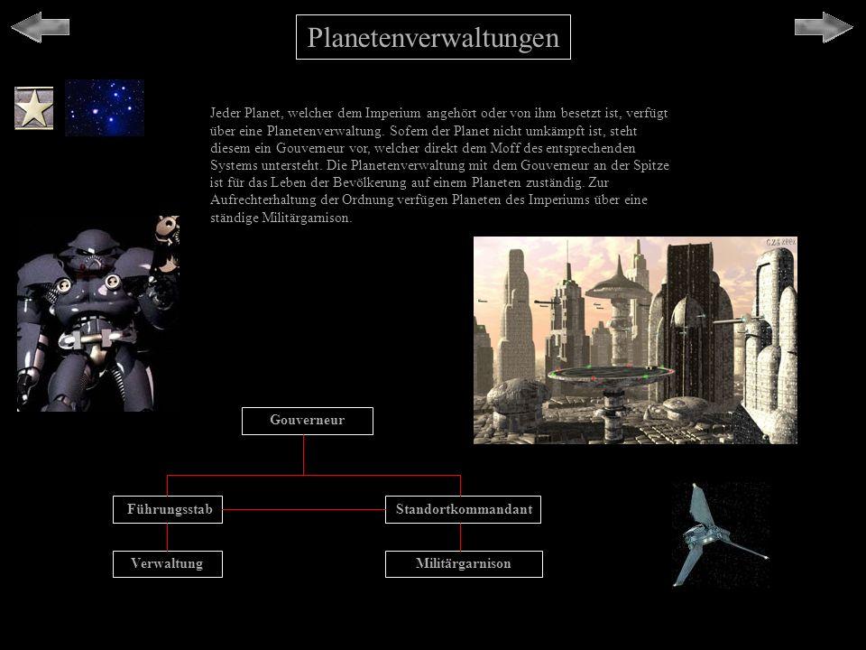 Planetenverwaltungen Jeder Planet, welcher dem Imperium angehört oder von ihm besetzt ist, verfügt über eine Planetenverwaltung. Sofern der Planet nic