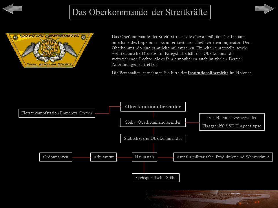 Das Oberkommando der Streitkräfte Das Oberkommando der Streitkräfte ist die oberste militärische Instanz innerhalb des Imperiums. Es untersteht aussch