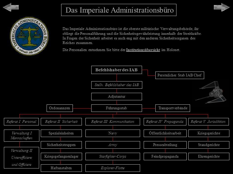 Das Imperiale Administrationsbüro Das Imperiale Administrationsbüro ist die oberste militärische Verwaltungsbehörde, ihr obliegt die Personalführung u