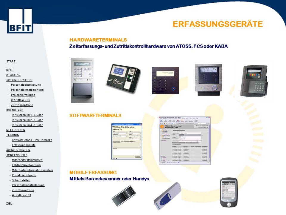 START BFIT ATOSS AG SW TIMECONTROL - PersonalzeiterfassungPersonalzeiterfassung - PersonaleinsatzplanungPersonaleinsatzplanung - ProjektverfolgungProjektverfolgung - Workflow-ESSWorkflow-ESS - ZutrittskontrolleZutrittskontrolle IHR NUTZEN - Ihr Nutzen im 1.-2.