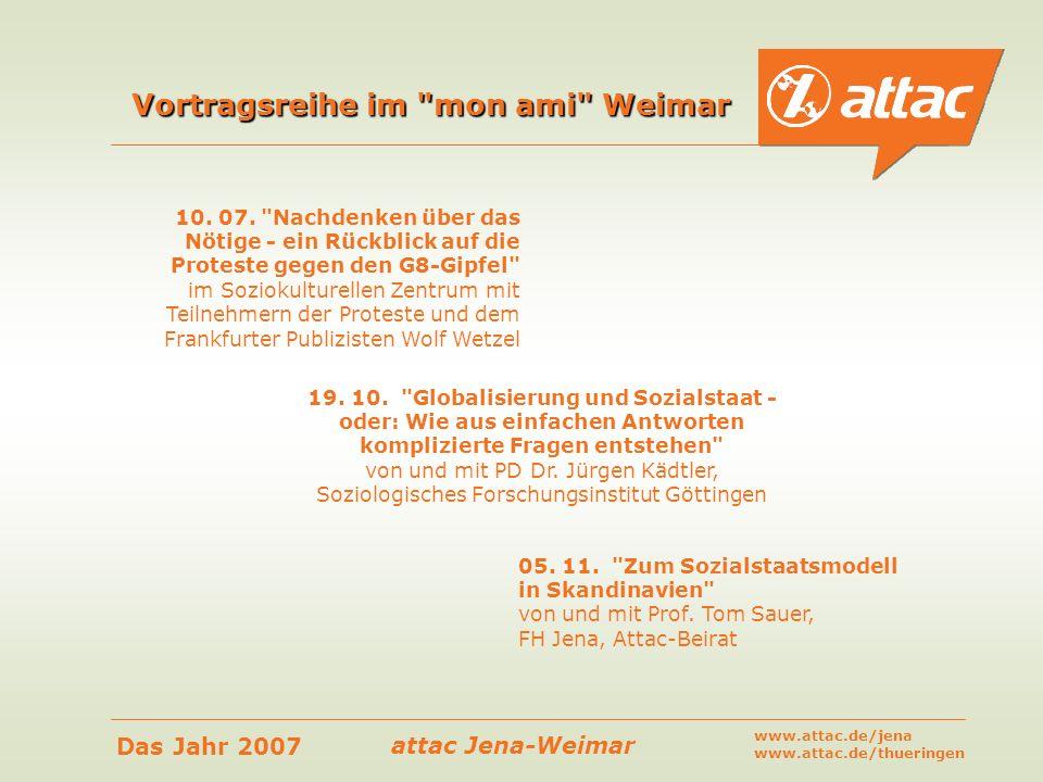 attac Jena-Weimar Das Jahr 2007 www.attac.de/jena www.attac.de/thueringen Vortragsreihe im
