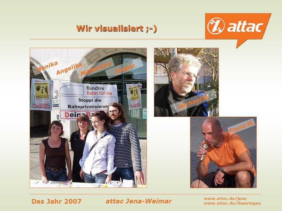 attac Jena-Weimar Das Jahr 2007 www.attac.de/jena www.attac.de/thueringen Wir visualisiert ;-) Monika AngelikaMadeleineJürgen Michael N. Frank M.