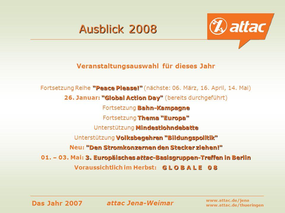 attac Jena-Weimar Das Jahr 2007 www.attac.de/jena www.attac.de/thueringen Veranstaltungsauswahl für dieses Jahr