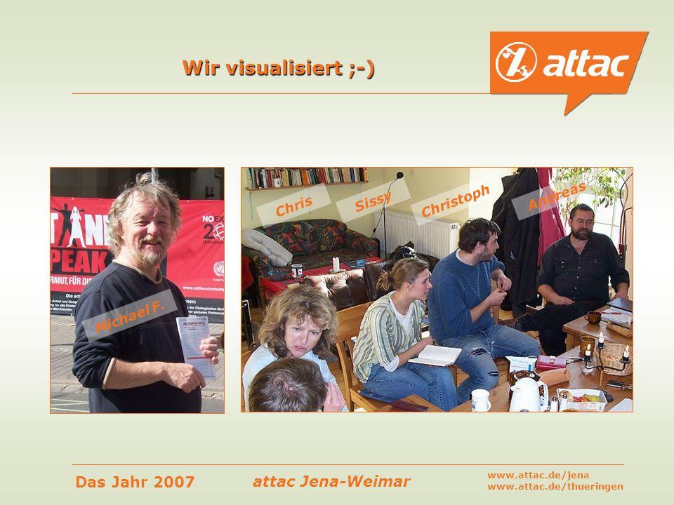 attac Jena-Weimar Das Jahr 2007 www.attac.de/jena www.attac.de/thueringen Wir visualisiert ;-) Michael F. Chris Sissy Christoph Andreas