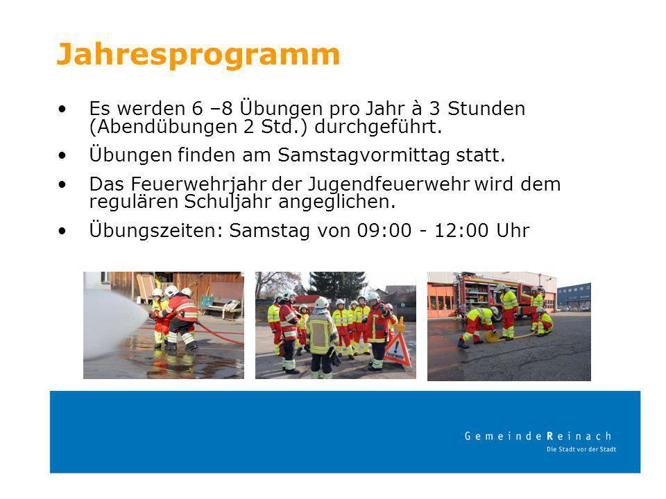 Jahresprogramm Es werden 6 –8 Übungen pro Jahr à 3 Stunden (Abendübungen 2 Std.) durchgeführt. Übungen finden am Samstagvormittag statt. Das Feuerwehr
