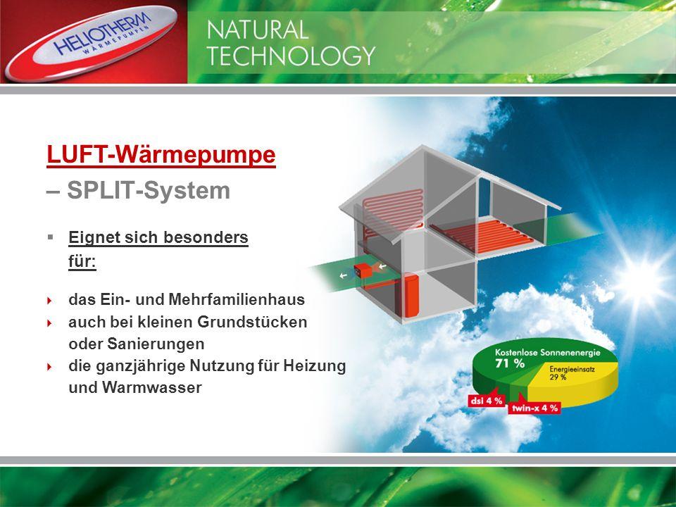 LUFT-Wärmepumpe – SPLIT-System das Ein- und Mehrfamilienhaus auch bei kleinen Grundstücken oder Sanierungen die ganzjährige Nutzung für Heizung und Wa