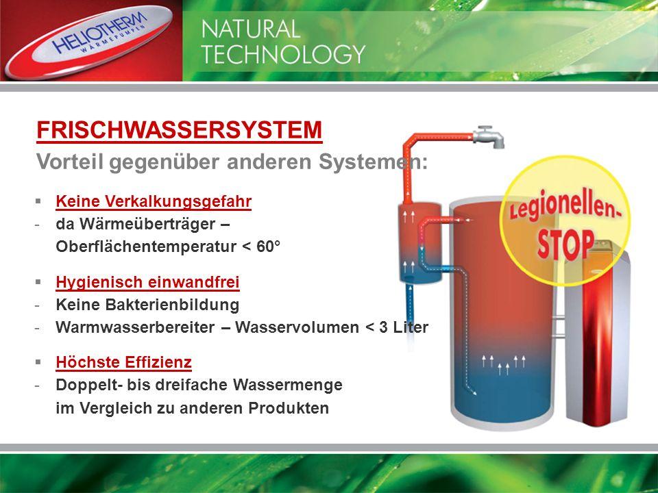 FRISCHWASSERSYSTEM Vorteil gegenüber anderen Systemen: Keine Verkalkungsgefahr -da Wärmeüberträger – Oberflächentemperatur < 60° Hygienisch einwandfre