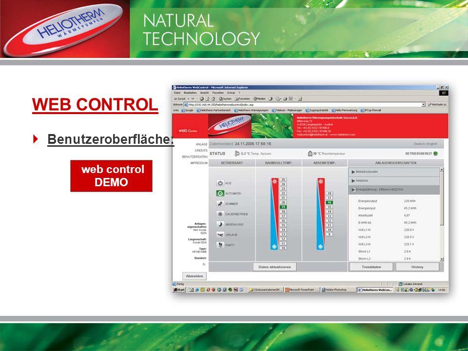 web control DEMO WEB CONTROL Benutzeroberfläche: