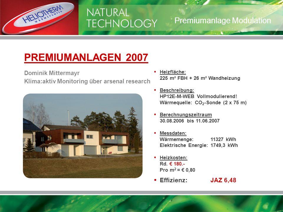 Heizfläche: 225 m² FBH + 26 m² Wandheizung Beschreibung: HP12E-M-WEB Vollmodulierend! Wärmequelle: CO 2 -Sonde (2 x 75 m) Berechnungszeitraum 30.08.20