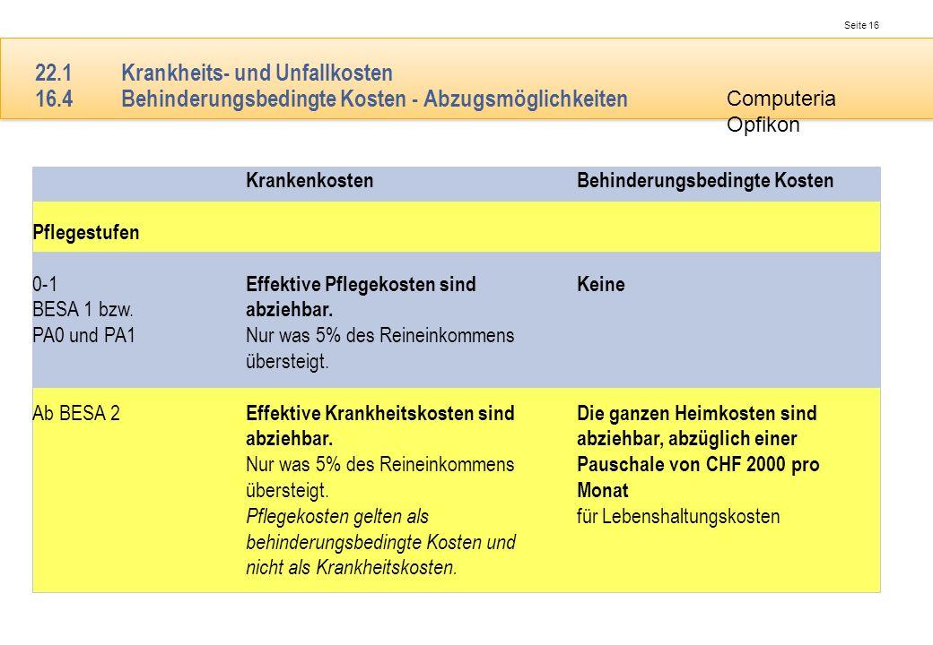 Seite 16 Computeria Opfikon 22.1Krankheits- und Unfallkosten 16.4Behinderungsbedingte Kosten - Abzugsmöglichkeiten Krankenkosten Effektive Pflegekoste