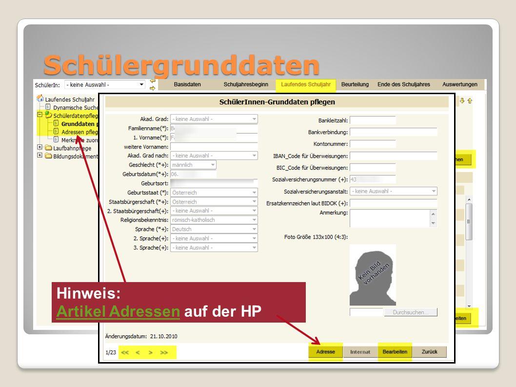 Schülergrunddaten Hinweis: Artikel Adressen auf der HP Artikel Adressen