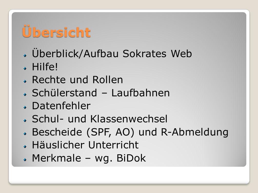 Übersicht Überblick/Aufbau Sokrates Web Hilfe.