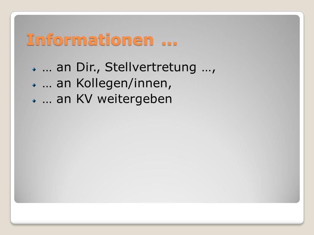 Informationen... … an Dir., Stellvertretung …, … an Kollegen/innen, … an KV weitergeben