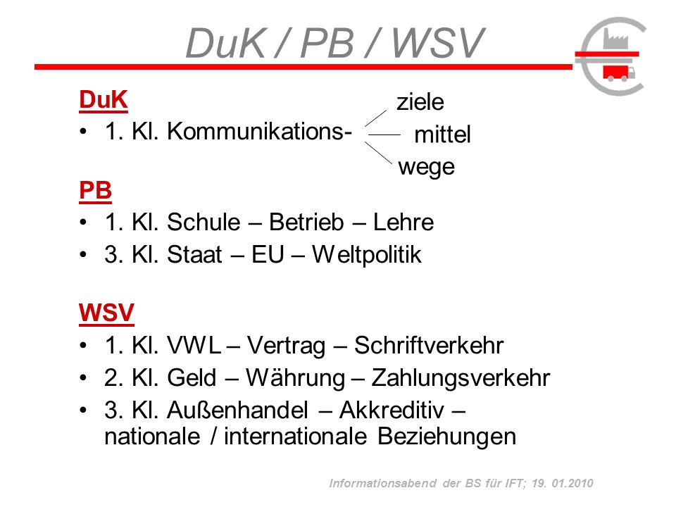 Informationsabend der BS für IFT; 19.01.2010 1.