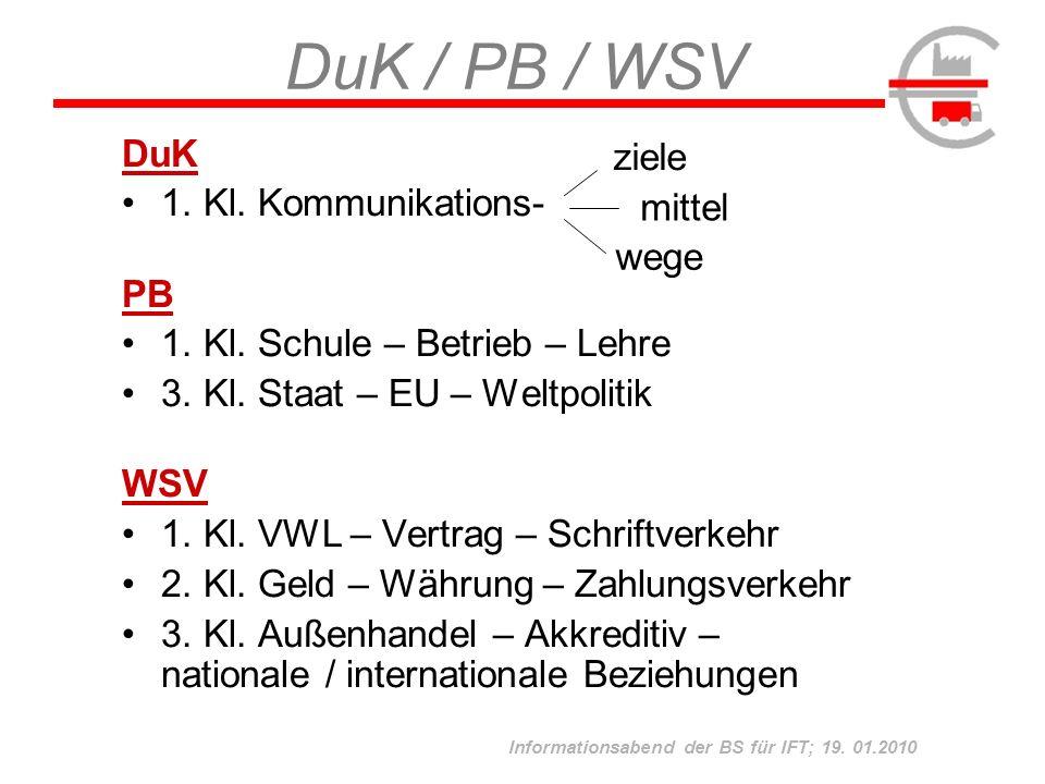 Informationsabend der BS für IFT; 19. 01.2010 DuK / PB / WSV DuK 1. Kl. Kommunikations- PB 1. Kl. Schule – Betrieb – Lehre 3. Kl. Staat – EU – Weltpol