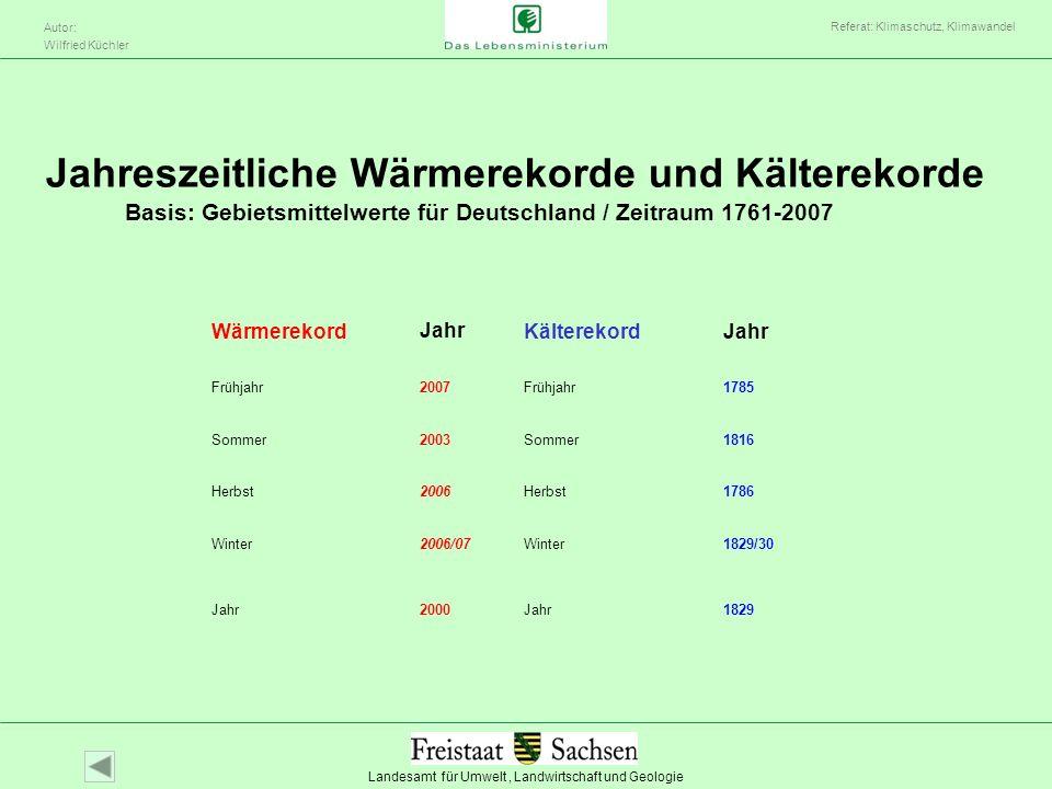 Landesamt für Umwelt, Landwirtschaft und Geologie Autor: Wilfried Küchler Referat: Klimaschutz, Klimawandel Wärmerekord JahrKälterekord Jahr Frühjahr2