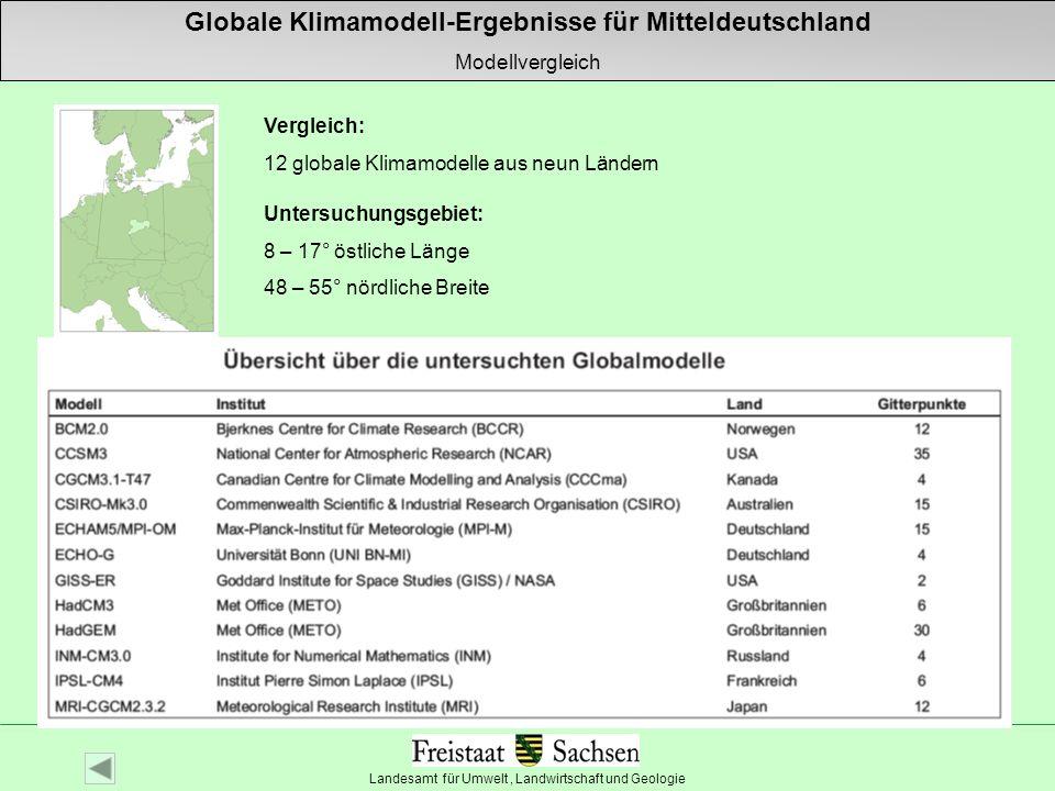 Landesamt für Umwelt, Landwirtschaft und Geologie Autor: Wilfried Küchler Untersuchungsgebiet: 8 – 17° östliche Länge 48 – 55° nördliche Breite Vergle