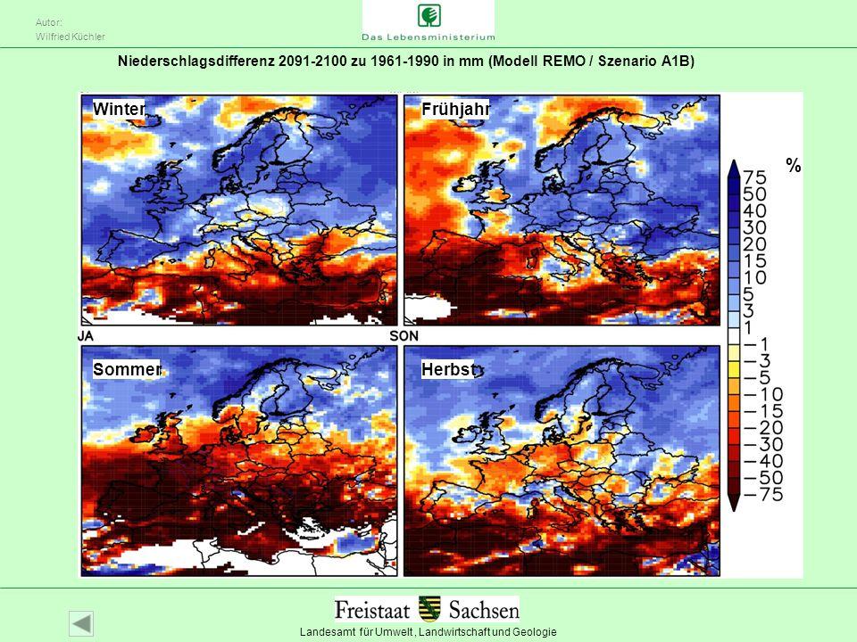 Landesamt für Umwelt, Landwirtschaft und Geologie Autor: Wilfried Küchler Niederschlagsdifferenz 2091-2100 zu 1961-1990 in mm (Modell REMO / Szenario