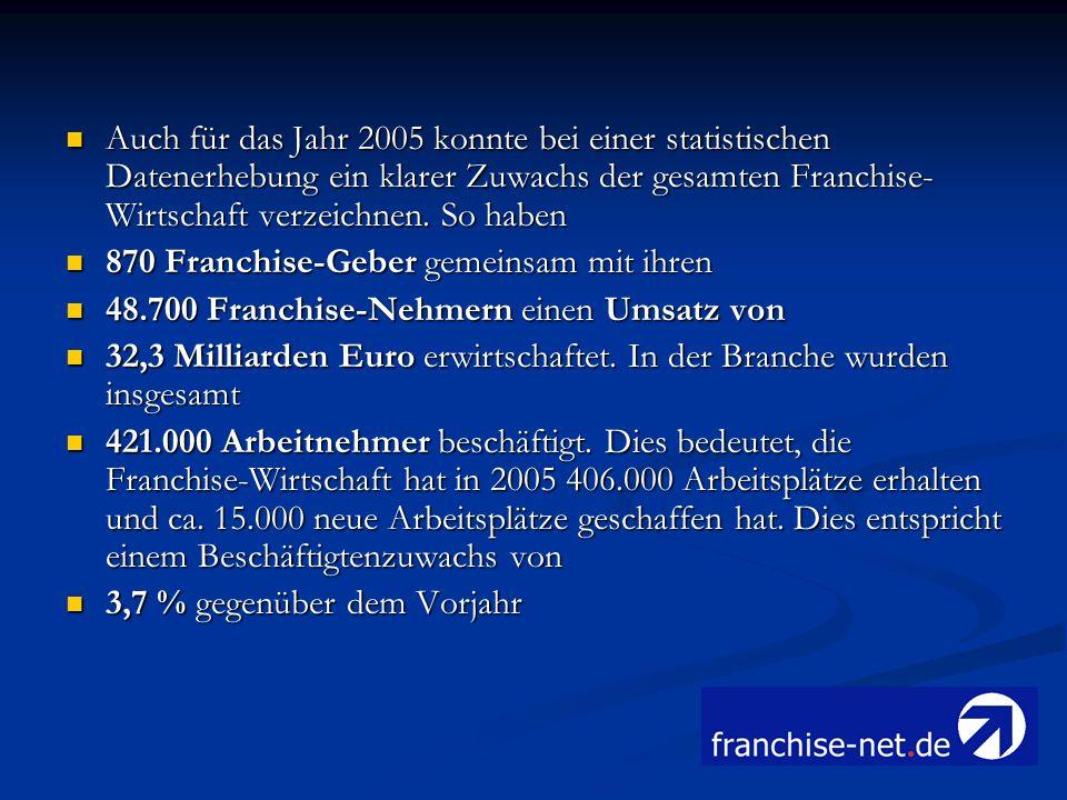Auch für das Jahr 2005 konnte bei einer statistischen Datenerhebung ein klarer Zuwachs der gesamten Franchise- Wirtschaft verzeichnen. So haben Auch f