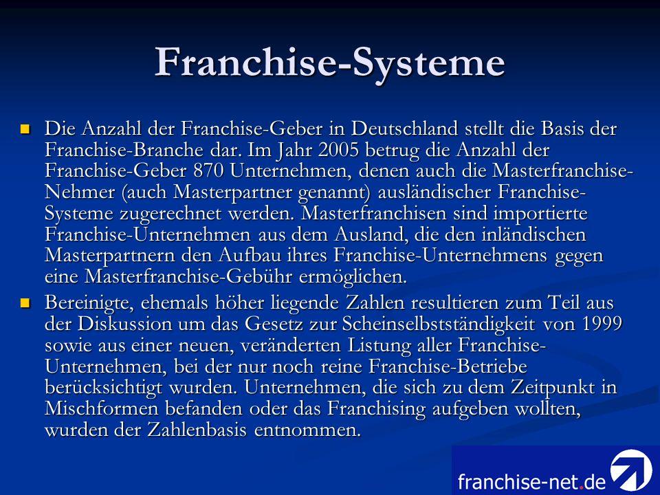 Franchise-Systeme Die Anzahl der Franchise-Geber in Deutschland stellt die Basis der Franchise-Branche dar. Im Jahr 2005 betrug die Anzahl der Franchi