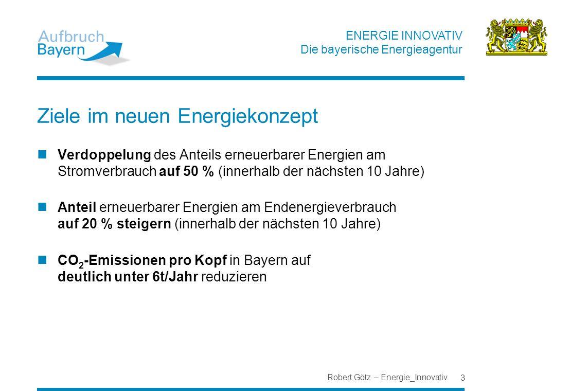 ENERGIE INNOVATIV Die bayerische Energieagentur Ziele im neuen Energiekonzept Verdoppelung des Anteils erneuerbarer Energien am Stromverbrauch auf 50