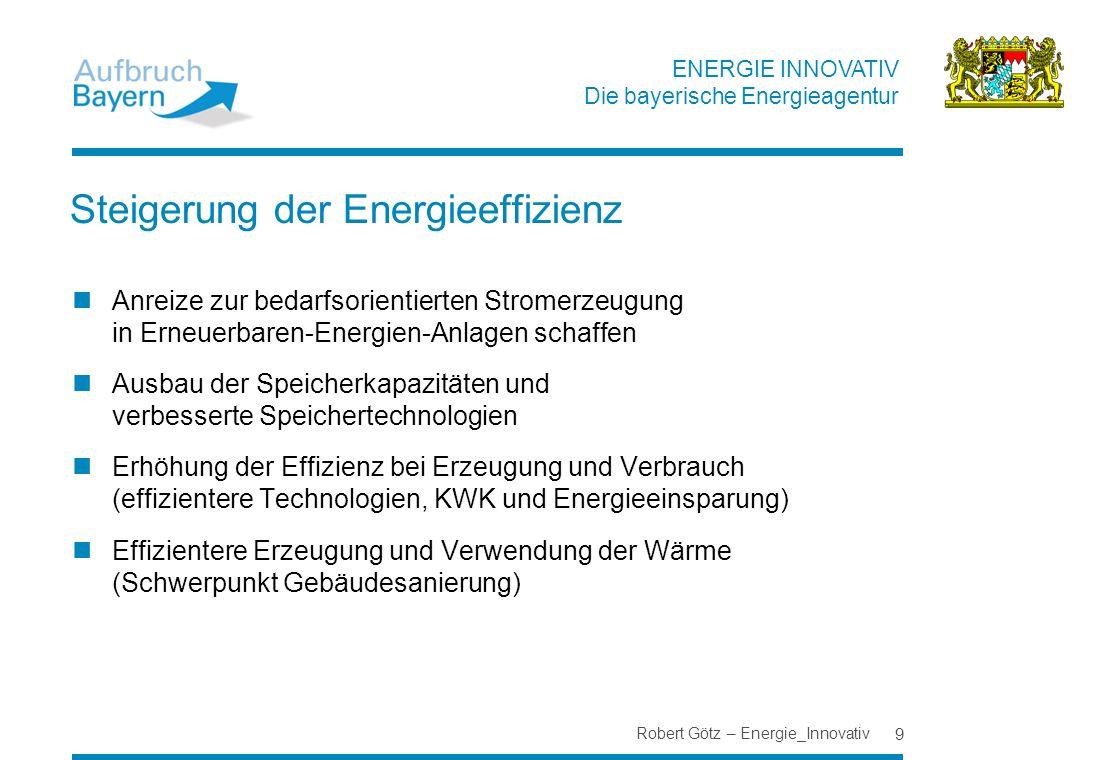 ENERGIE INNOVATIV Die bayerische Energieagentur Steigerung der Energieeffizienz Anreize zur bedarfsorientierten Stromerzeugung in Erneuerbaren-Energie
