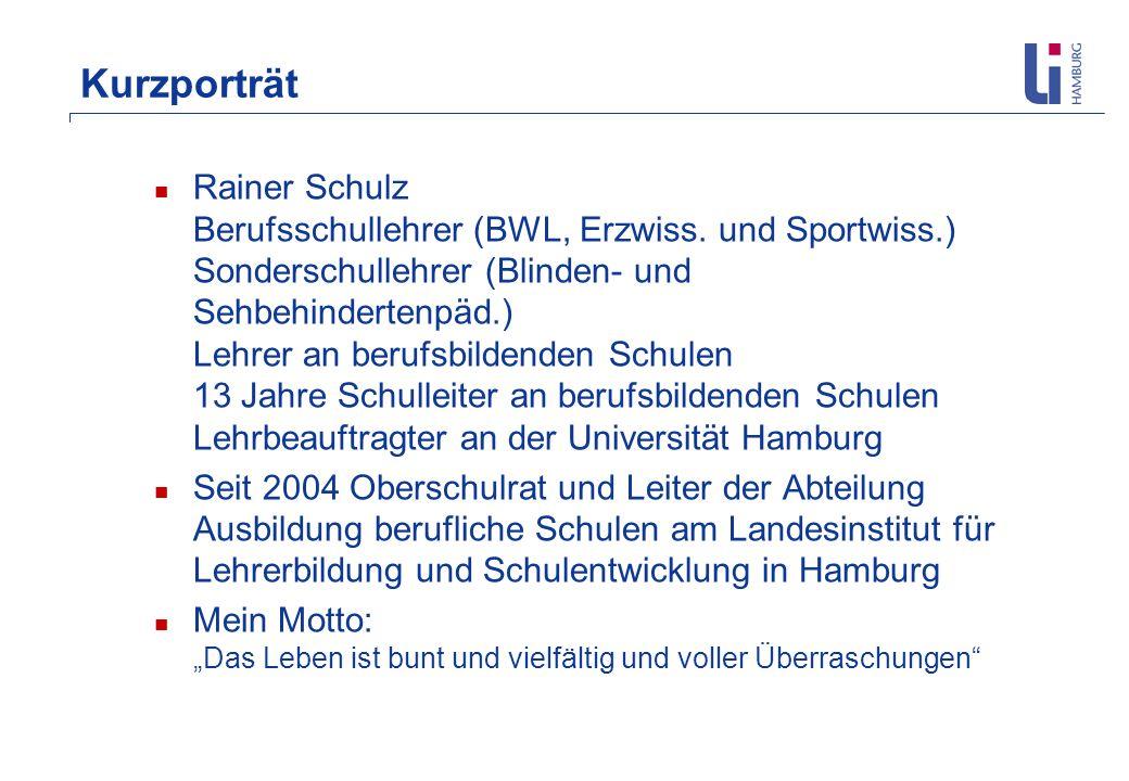 Kurzporträt Rainer Schulz Berufsschullehrer (BWL, Erzwiss. und Sportwiss.) Sonderschullehrer (Blinden- und Sehbehindertenpäd.) Lehrer an berufsbildend