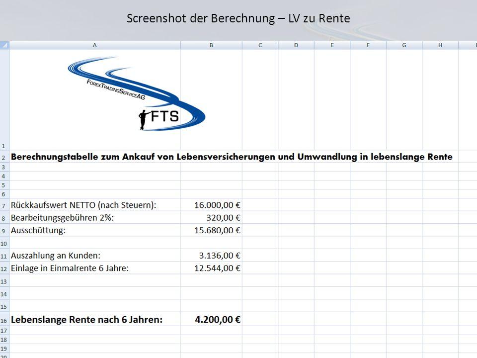 Lebensversicherung in lebenslange Rente wandeln Kunde Beispiel Abtretung an FTS Rückkaufwert 50.000 Frau Claudia Müller wickelt den gesamten Vorgang m