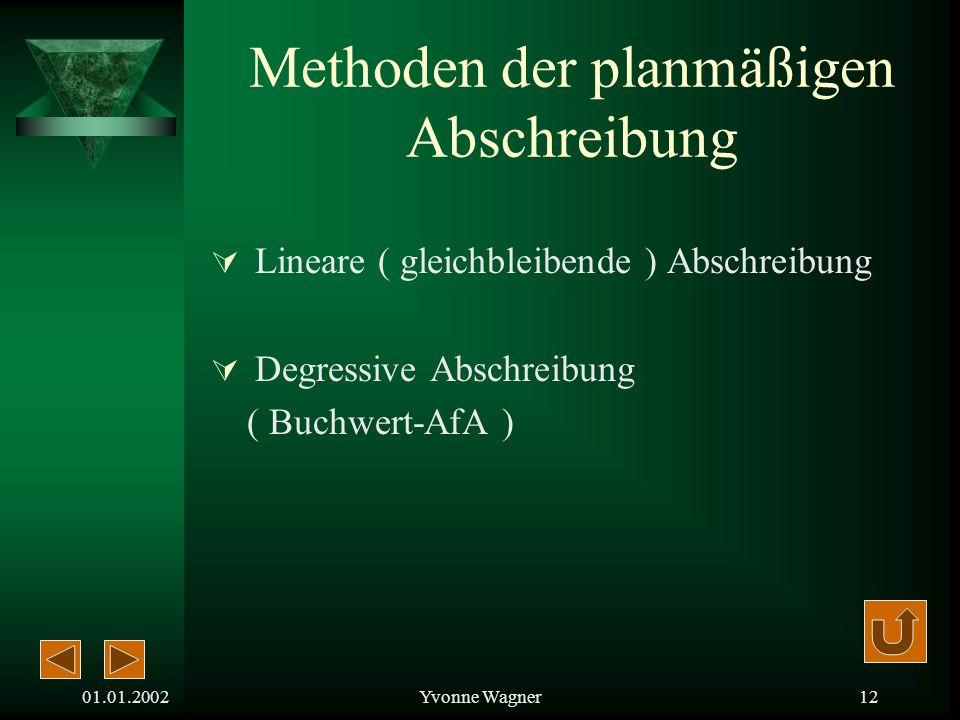 01.01.2002Yvonne Wagner11 § 253 Abs. 2 Satz 2 HGB besagt: Der Plan muss die Anschaffungs- und Herstellungskosten auf die Geschäftsjahre verteilen, in