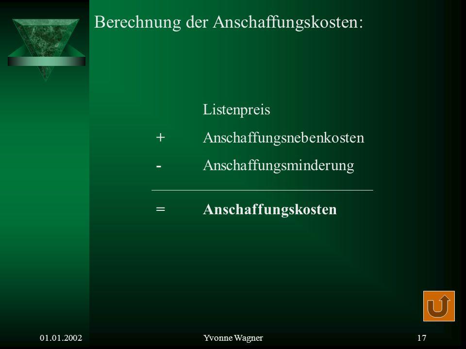 01.01.2002Yvonne Wagner16 Jährlicher Abschreibungsbetrag: = Nutzungsdauer Jährlicher Abschreibungssatz in %: = 100 % Nutzungsdauer Anschaffungskosten