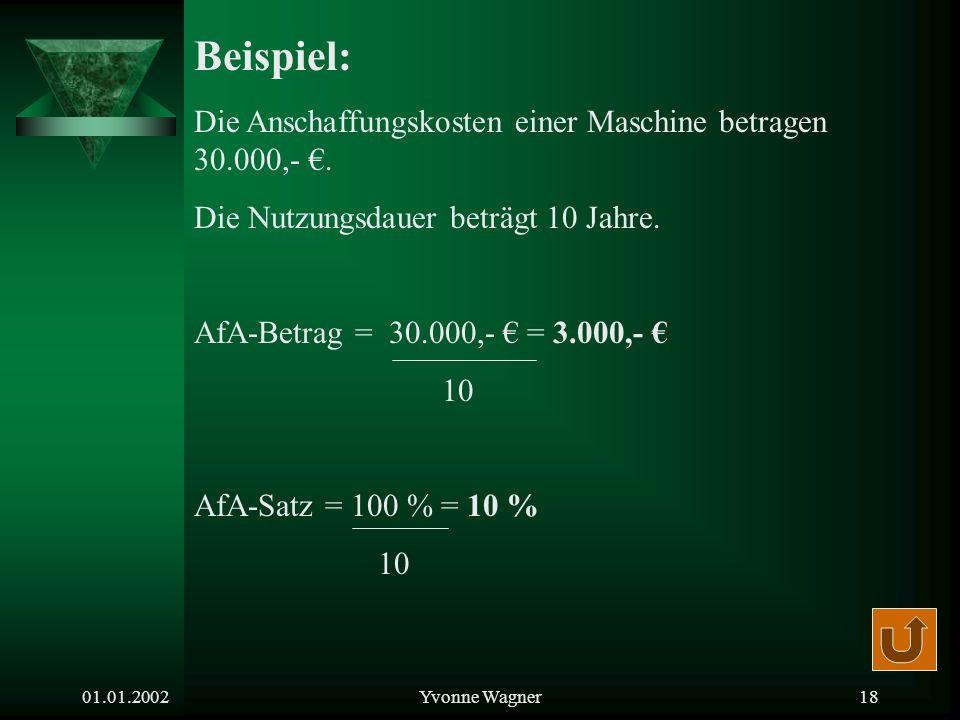 01.01.2002Yvonne Wagner17 Berechnung der Anschaffungskosten: Listenpreis +Anschaffungsnebenkosten -Anschaffungsminderung =Anschaffungskosten