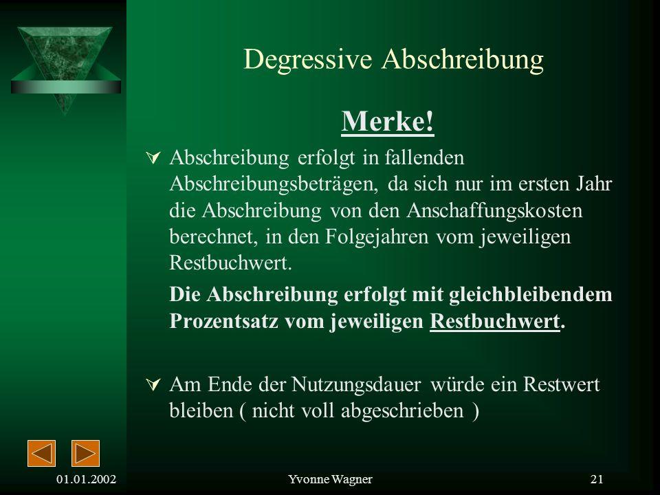 01.01.2002Yvonne Wagner20 Degressive Abschreibung ( Buchwert-AfA )