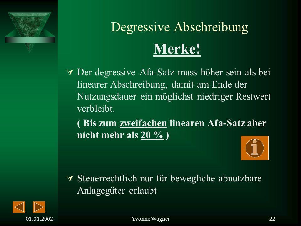 01.01.2002Yvonne Wagner21 Degressive Abschreibung Merke.
