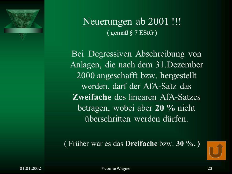 01.01.2002Yvonne Wagner22 Degressive Abschreibung Merke! Der degressive Afa-Satz muss höher sein als bei linearer Abschreibung, damit am Ende der Nutz