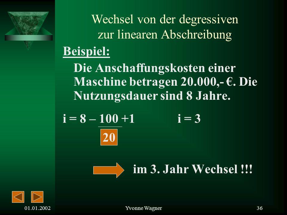 01.01.2002Yvonne Wagner35 Der günstigste Zeitpunkt i = n – 100 +1 p (von der Degressiven Abschreibung) i = Übergangsjahr n = Nutzungsdauer p = AfA-Sat