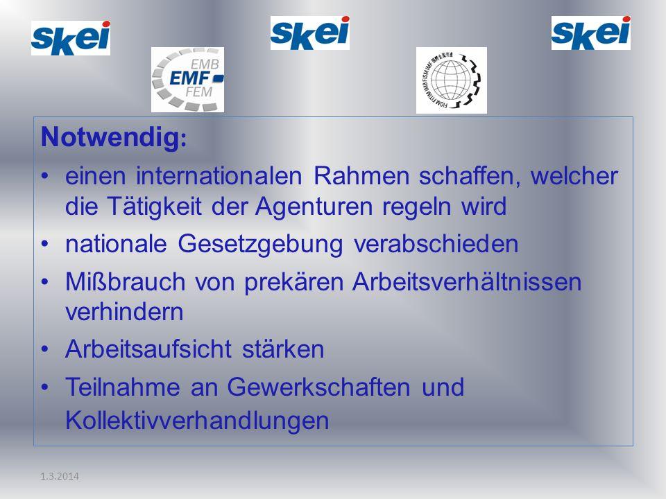 1.3.2014 Notwendig : einen internationalen Rahmen schaffen, welcher die Tätigkeit der Agenturen regeln wird nationale Gesetzgebung verabschieden Mißbr