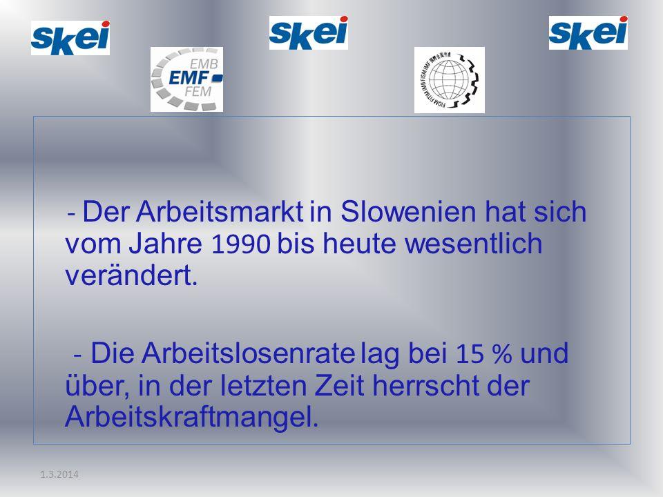 1.3.2014 - Der Arbeitsmarkt in Slowenien hat sich vom Jahre 1990 bis heute wesentlich verändert. - Die Arbeitslosenrate lag bei 15 % und über, in der