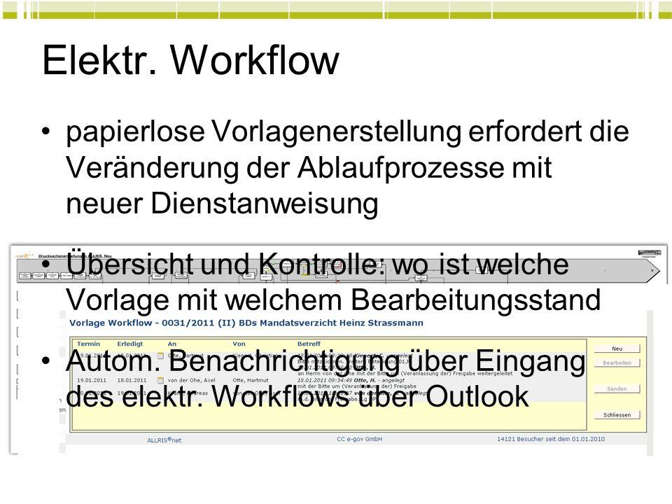 14 Elektr. Workflow papierlose Vorlagenerstellung erfordert die Veränderung der Ablaufprozesse mit neuer Dienstanweisung Übersicht und Kontrolle: wo i