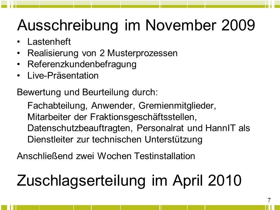 7 Ausschreibung im November 2009 Lastenheft Realisierung von 2 Musterprozessen Referenzkundenbefragung Live-Präsentation Bewertung und Beurteilung dur