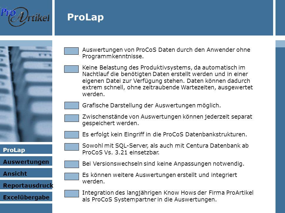 ProLap Auswertungen Ansicht Excelübergabe Reportausdruck ProLap Auswertungen von ProCoS Daten durch den Anwender ohne Programmkenntnisse.