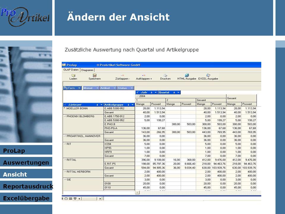 Ändern der Ansicht Zusätzliche Auswertung nach Quartal und Artikelgruppe ProLap Auswertungen Ansicht Excelübergabe Reportausdruck