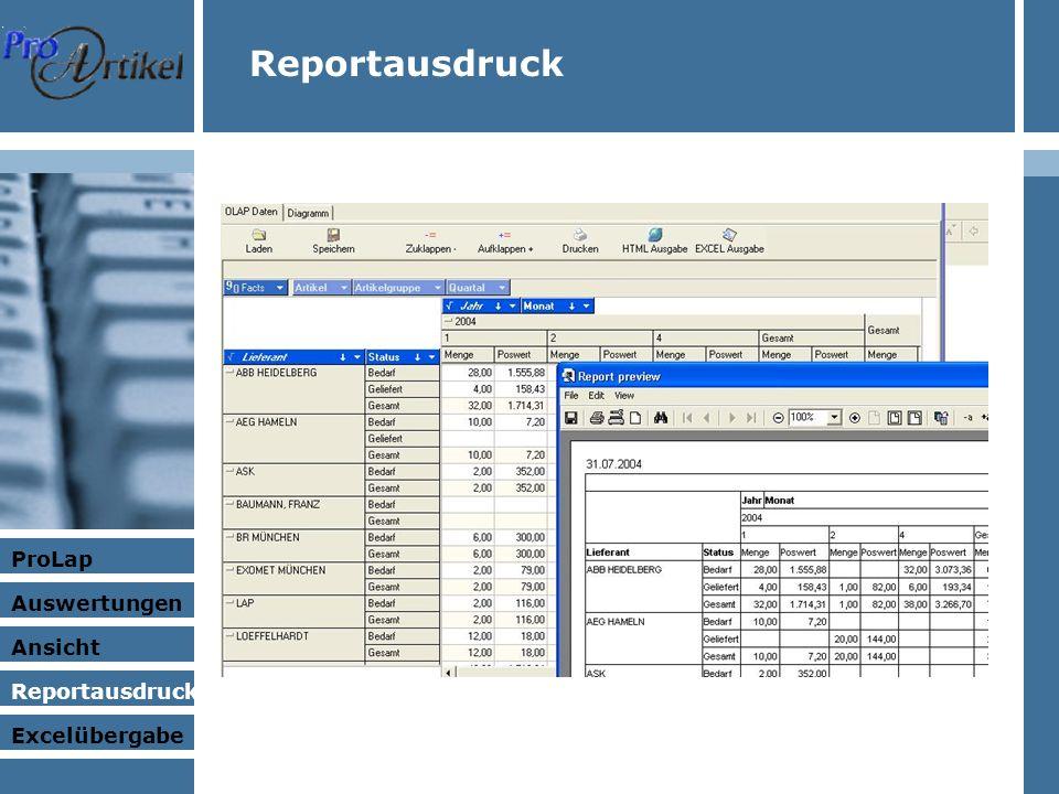 ProLap Auswertungen Ansicht Excelübergabe Reportausdruck