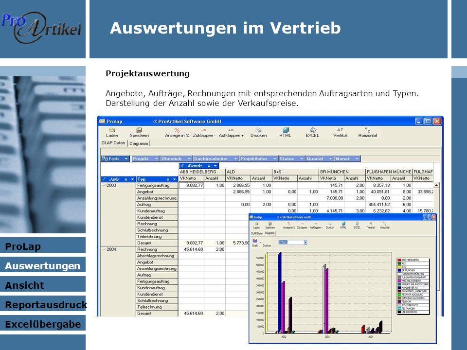 Projektauswertung Angebote, Aufträge, Rechnungen mit entsprechenden Auftragsarten und Typen.