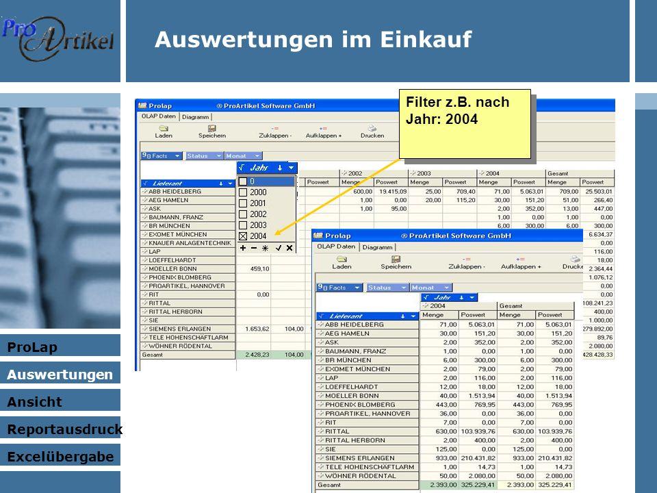 Auswertungen im Einkauf ProLap Auswertungen Ansicht Excelübergabe Reportausdruck Filter z.B.
