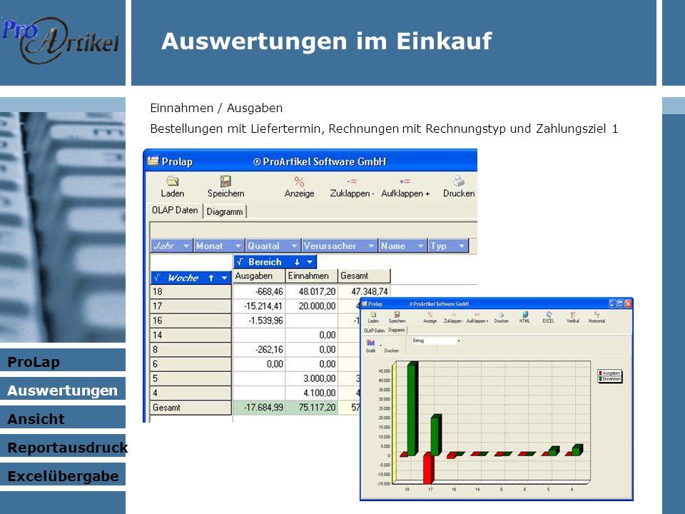 Auswertungen im Einkauf Einnahmen / Ausgaben Bestellungen mit Liefertermin, Rechnungen mit Rechnungstyp und Zahlungsziel 1 ProLap Auswertungen Ansicht Excelübergabe Reportausdruck