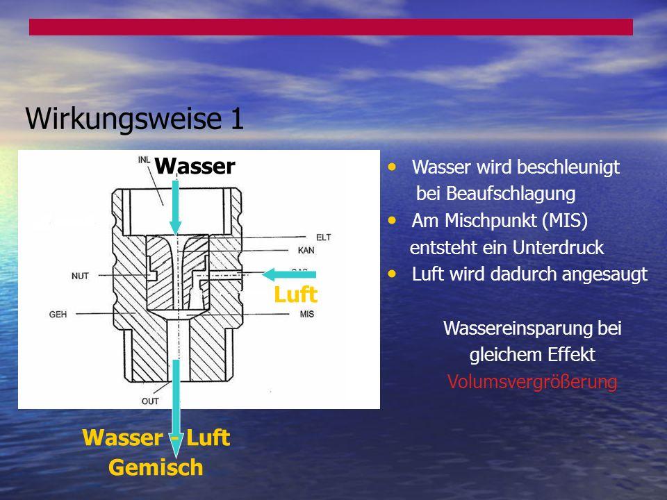 Luft Wasser Wasser - Luft Gemisch Wasser wird beschleunigt bei Beaufschlagung Am Mischpunkt (MIS) entsteht ein Unterdruck Luft wird dadurch angesaugt