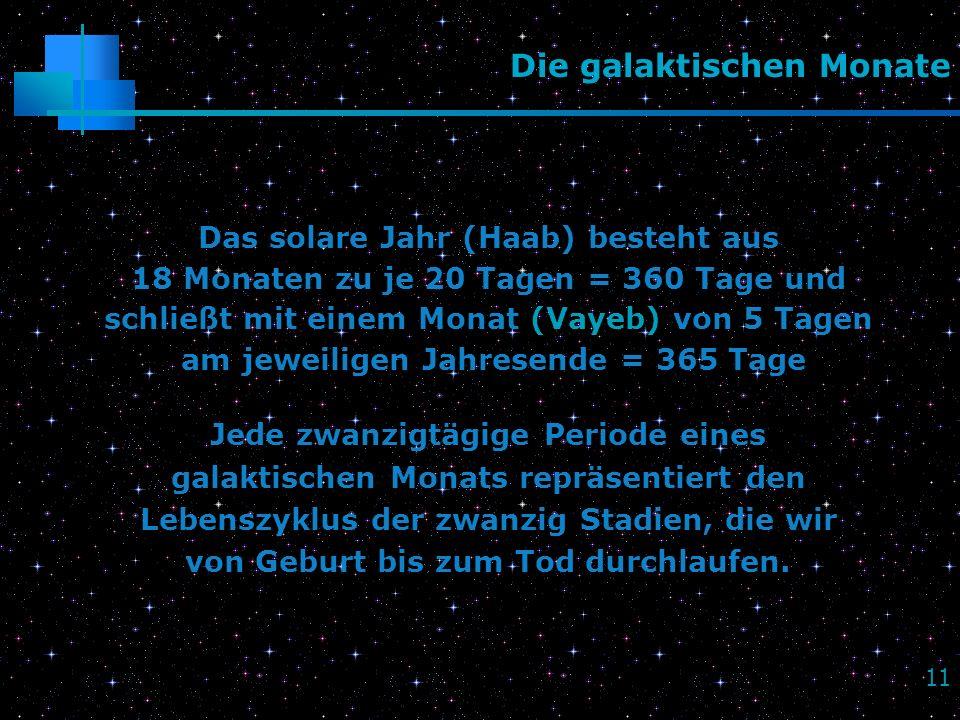 11 Die galaktischen Monate Das solare Jahr (Haab) besteht aus 18 Monaten zu je 20 Tagen = 360 Tage und schließt mit einem Monat (Vayeb) von 5 Tagen am
