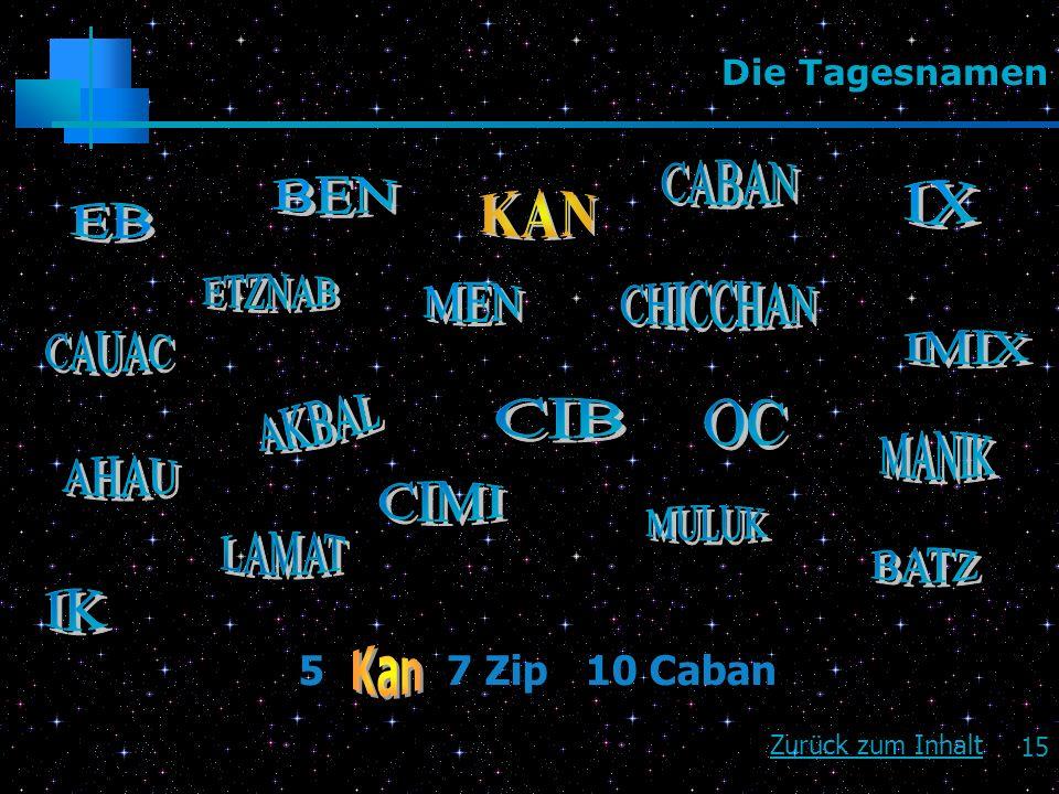 15 Die Tagesnamen Zurück zum Inhalt 5 7 Zip 10 Caban